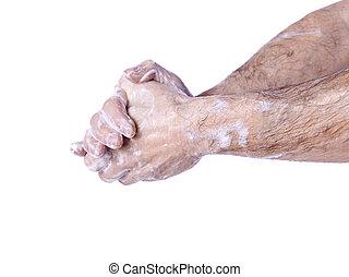 chirurg, zijn, het wassen hands