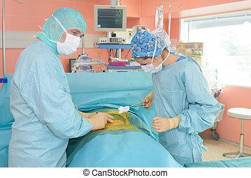 chirurgen, het werken, een, patiënt