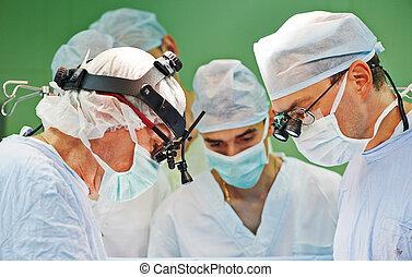 chirurgen, mannschaft, an, betrieb