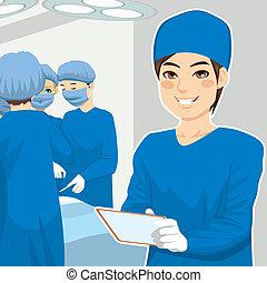 chirurgico, maschio, infermiera, tavoletta
