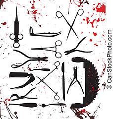 chirurgie, gereedschap, bloedig