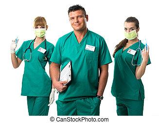 chirurgie, team, -doctor, en, verpleegkundigen