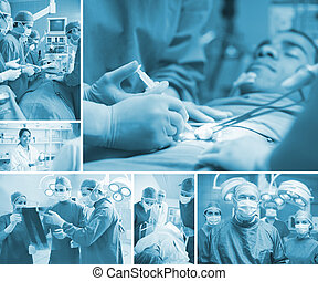 chirurgien, équipe, opération