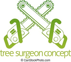 chirurgien, concept, arbre, hache, cainsaw