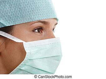 chirurgien, jeune, femme