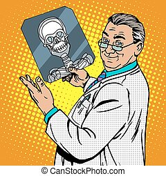 chirurgien, rayon x, crâne, docteur