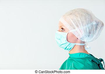 chirurgien, regarder obliquement