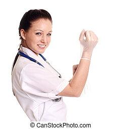 chirurgisch, gloves., setzen, weiblicher doktor