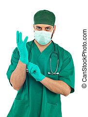 chirurgo, giovane, bello