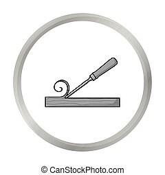 Chisel icon in monochrome style isolated on white...