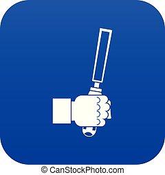 Chisel tool in man hend icon digital blue