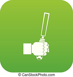Chisel tool in man hend icon digital green
