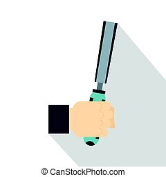 Chisel tool in man hend icon, flat style - Chisel tool in...