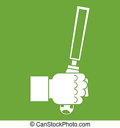 Chisel tool in man hend icon green - Chisel tool in man hend...