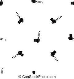Chisel tool in man hend pattern seamless black - Chisel tool...