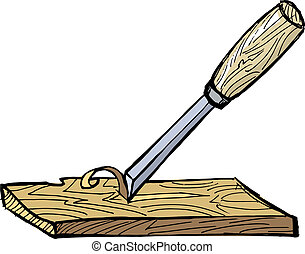 chisel - hand drawn illustration of the chisel with plank