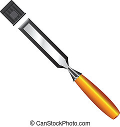 Chisel with protective cap for the cutting edge. Vector...