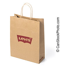 Chisinau, Moldova April, 12, 2018:Paper bag isolated on white Levi's Jeans with Company Logo with clipping path,