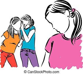 chisme, ilustración, adolescentes, niñas