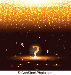 chispas, brillar, signo de interrogación
