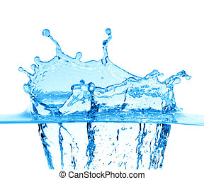 chispas, de, agua azul, en, un, fondo blanco