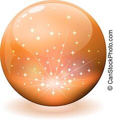 chispas, esfera, naranja, interior., brillante