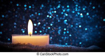 chistmas, candela, ardendo, su, parete legno, fondo.