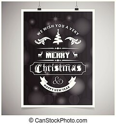 Chistmas card with dark background and typographic