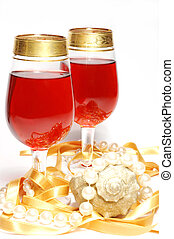 Chistmas celebration still life - glasses with wine,conch and st