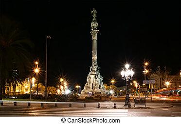 chistopher, monumento columbo, em, night., barcelona,...