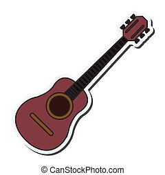 chitarra, acustico, icona