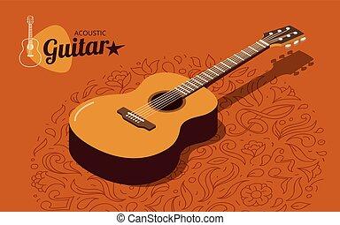chitarra, acustico, isometrico