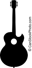 chitarra, acustico, silhouette
