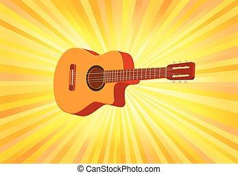 chitarra, acustico, vettore, manifesto