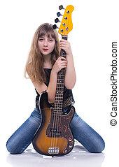 chitarra, adolescente, basso, ragazza, seduta