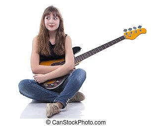 chitarra, adolescente, sorpreso, basso, ragazza