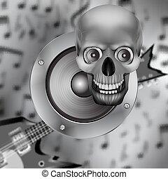 chitarra, altoparlante, cranio, elettrico