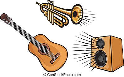 chitarra, altoparlante, tromba
