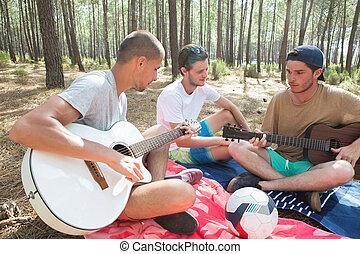 chitarra, amici, foresta, gioco