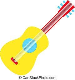 chitarra, appartamento, bianco, giallo, illustrazione