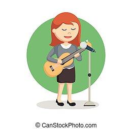 chitarra, assolo, cantante, donna