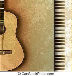 chitarra, astratto, grunge, pianoforte, fondo