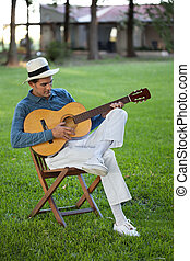 chitarra, bello, gioco, uomo