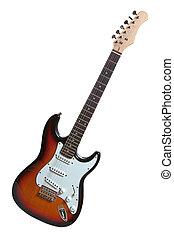 chitarra, bianco, elettrico, isolato
