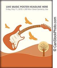 chitarra, birds., elettrico, paesaggio