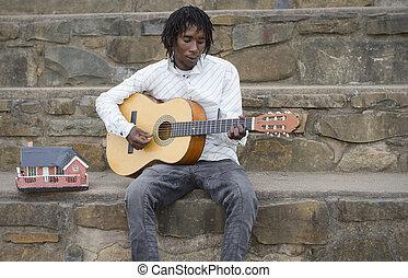 chitarra, busker, gioco, africano
