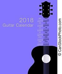 chitarra, calendario, 2018, musicale