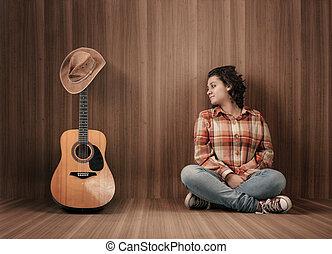 chitarra, cappello, cowboy