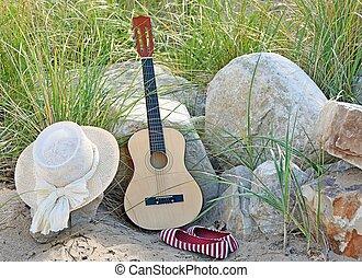 chitarra, cappello, scarpe