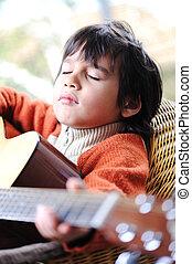 chitarra, casa, gioco, capretto
